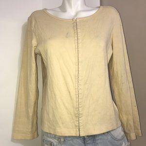Sears Warm Cream Boatneck Wool Cardigan Sweater